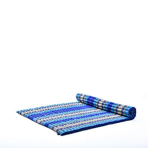 Leewadee Rollbare XXL Thai Matte, 200x145x5 cm, Extrabreite Gästematratze Yogamatte Massagematte Ökologisches Naturprodukt, Kapok, blau