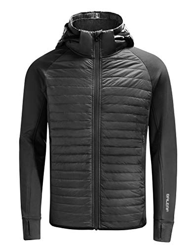 BALEAF Men's Lightweight Packable Puffer Jacket Water Resistant Warm Down Jacket Thermal Hybrid Hiking Coat Black L