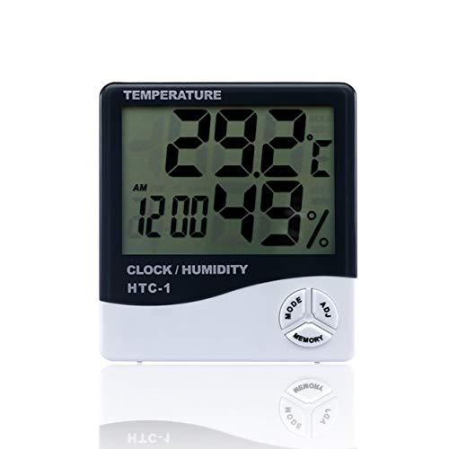 Tree-on-Life HTC-1 Habitación Interior LCD Temperatura electrónica Medidor de Humedad Termómetro Digital Higrómetro Estación meteorológica Reloj Despertador