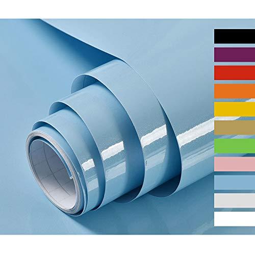 Hode Klebefolie Möbel Selbstklebende Klebefolie Undurchsichtige Folie Möbelfolie für Küche Wände Schrank Wasserdicht Vinyl Blau 40cmX300cm Mit Glitzer