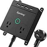 SUPERDANNY Power Strip with USB, 2 Widely Spaced Outlets & 4 USB Ports Desktop Charging Station Wall Mountable Flat Plug Extender with 5ft Extension Cord and Switch for Home Office Nightstand, Black