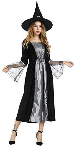 Frawirshau fantasia de bruxa para mulheres vestido de feiticeira Wicked chapéu de bruxa sexy fantasias de Halloween, Cinza, XX-Large