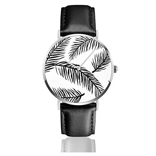 Schwarz Weiß Palmblätter Uhr Quarzwerk Wasserdichtes Leder Uhrenarmband für Männer Frauen Einfache Business Casual Uhr