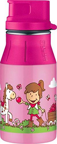 alfi 5377.162.040 Trinkflasche elementBottle II, Edelstahl Farm Rosa 0,4 l, Spülmaschinenfest, BPA-Free