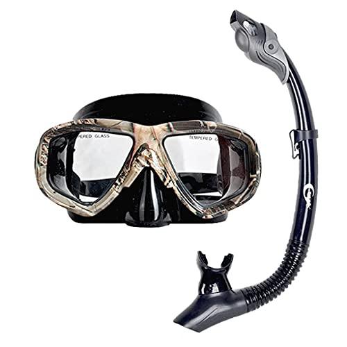 AWJ Máscaras de Buceo Snorkeling Silicona Impermeable y antivaho Unisex HD Equipo de Buceo Natación (Color: B)
