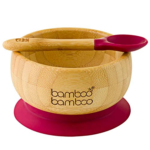 bamboo bamboo Baby Bowls with Suction and Spoon Set 11.8oz (350ml) Cherry - Detachable Suction Base - Natural Bamboo Baby Utensils for Stay Put Feeding
