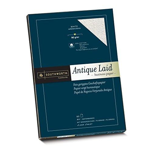 Southworth 90070 Fein geripptes Papier mit 25% Baumwolle, DIN A4, weiß, mit Wasserzeichen 90g/qm, 80 Blatt im Karton
