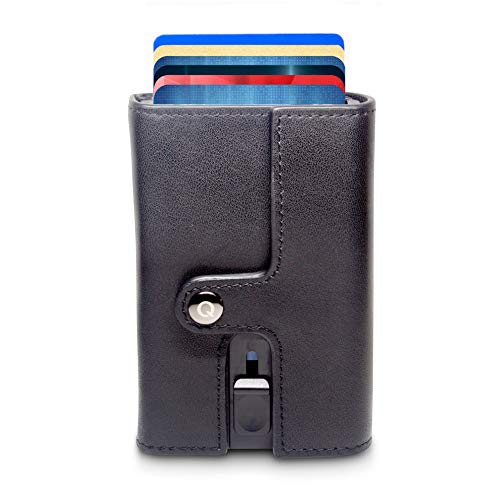 Geldbörse mit RFID Schutz für Herren - Modell Symetry | Echte Rindsleder | Aluminium Kartenetui | Auslesesichere Automatische Pop-up Mechanismus | Schlankes Design mit Kleingeldfach