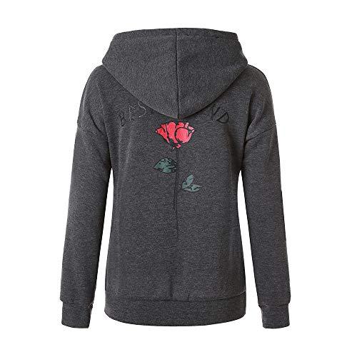 Sweat Hoodie Femme,Covermason Sweat-Shirts Rose Imprimé Sweats à Capuche Pull à Manches Longues Hoodie Chic Veste Chemise T-Shirt Tops Blouse …