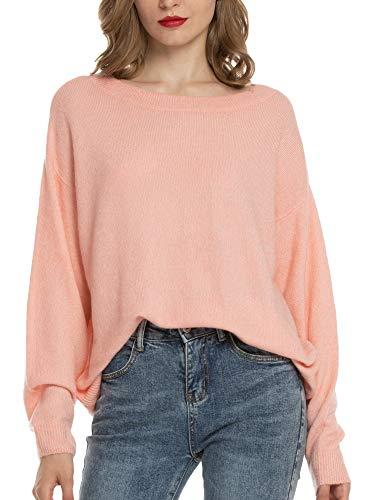 Woolen Bloom Jersey Punto Mujer Invierno Jersey Rayas Camiseta Manga Larga Sueter Basico Suelto Jerseys Camisa Tops Pull-Over Suéter Mujer Primavera Otoño Rosa
