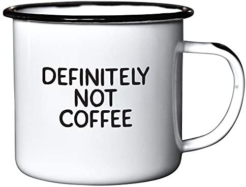 DEFINITELY NOT COFFEE Enamel Coffee Mug Funny Gift for Vodka Gin Bourbon Wine and Beer Lovers product image
