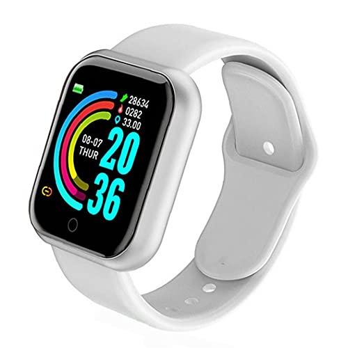 Tuimiyisou Reloj Deportivo de Gran Pantalla de la Prueba de frecuencia cardíaca Y68 hermético Reloj Inteligente para los Hombres y Las Mujeres compatibles con el Blanco de Andriod iOS