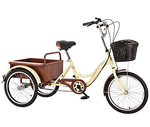 ZHMIAO Triciclos Adultos 3 Bicicletas de Ruedas Cadena de una Sola Cadena de Crucero con Compras Frente Canasta de automóviles para Personas Mayores Mujeres Hombres Pedal d