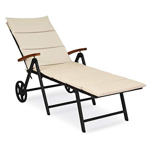 COSTWAY Folding Rattan Sunlounger with Wheels, 7-Position Adjustable Outdoor Aluminium Frame Wicker Deck Chair, Garden Beach Patio Recliner Lounger Bench