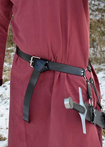 Schwertgürtelhalter aus schwarzem Leder – Schwerthalter Gürtelhalter Mittelalter Schwert - 3