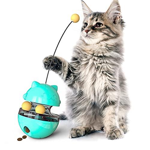 TRATAMIENTO INTERACTIVO CAT TRATE CON EL CUERPO DE EQUILICIO DE SWING TOYS TOYS INTERACTIVO Mejor de gatitos de gatito de gatito con bolas enrollables duales Varita de burla de juguete equilibrado