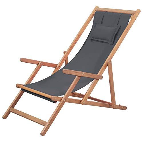 Silla de playa plegable de madera, estructura de madera de eucalipto y...