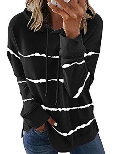 SMENG Jersey de manga larga para mujer, diseño de rayas Negro-3. S