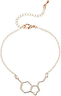 METTU Trendy Serotonin Molecule Bracelet Bangle Chemical Molecular Structure Bracelet for Women Nurse Jewelry Gift