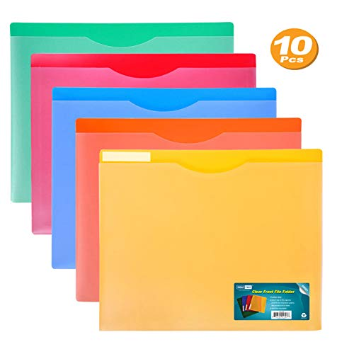 Nova Filer Waterproof Poly-File Folders with Top Tab, Letter Size, Assorted Colors, 10pcs Pack