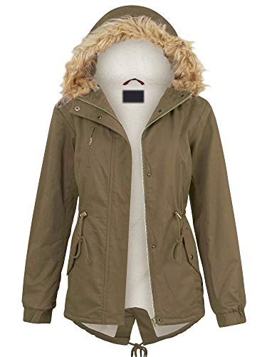 Lock and Love LL WJC2068 Womens Inner Fur Lined Military Anorak Parka Jacket Detachable Hood Fur Trim S Olive