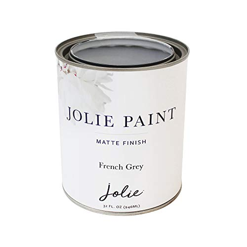 Jolie Paint - Premier Chalk Finish Paint - Matte Finish Paint for Furniture, cabinets, Floors, Walls, Home Decor and Accessories - Water-Based, Non-Toxic - French Grey - 32 oz (Quart)