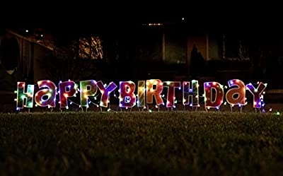 Luciole Happy Birthday Yard Sign with Stakes, Set of 13 Large Lawn Letters and LED String Lights, Waterproof Outdoor Bday Party Decorations for Boys, Girls, Adults, Kids