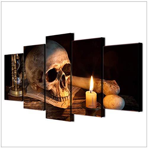nr Canvas moderne muurkunst poster wooncultuur scary schedel brandende kaars woonkamer HD afdrukken foto's schilderij 40x60 40x80 40x100 cm geen lijst