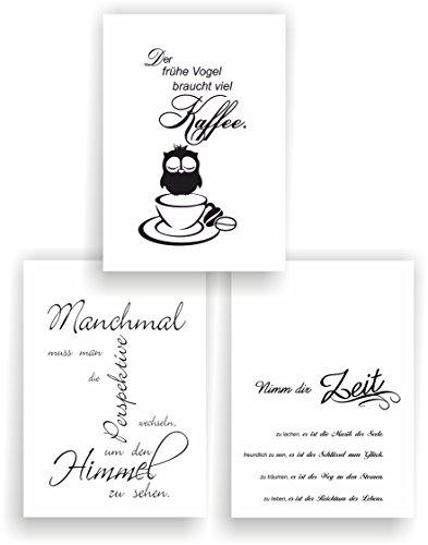 greenluup 3er Set Poster Spruch A4 Sprüche Wandbild (P11) Nimm dir Zeit der frühe Vogel braucht viel Kaffee Küche Wohnzimmer Büro