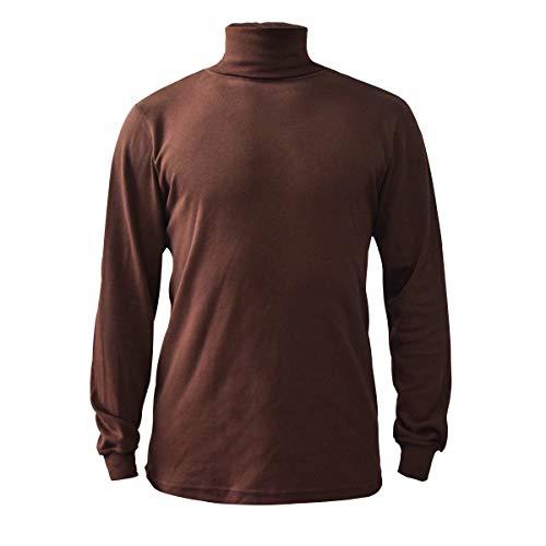 Brown Men's Combed Cotton Euro Design Ski Casual Turtleneck (X-Large)