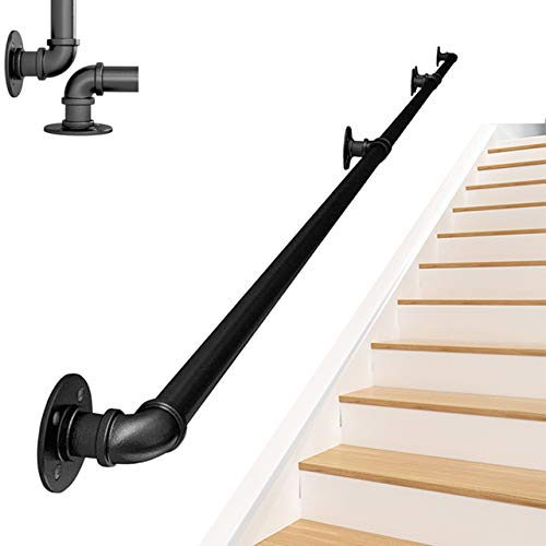 ZCFXGHH Baranda de Escalera de Hierro Fundido rústica Industrial, Perchero, baranda de Pared Toallero de riel de Toalla Uso en pasillos, rampas o escaleras Baño, 08ft/240cm