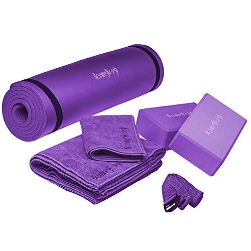 HemingWeigh Kit de juego de yoga 7 piezas 1 esterilla de yoga, toalla para esterilla de yoga, 2 bloques de yoga, correa de yoga, toalla de mano de yoga, funda de transporte gratis color morado