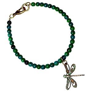 Chrysocolla Dragonfly Charm Bracelet