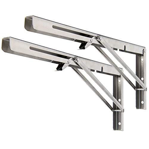 Folding Shelf Brackets [2pk, 16 Inch] Folding Bracket for Shelves, Collapsible Wall Mounted Table or Quick Foldable Work Bench. Large Stainless Steel and Heavy Duty Fold Down Hinged Shelf Bracket