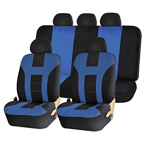 Stoelhoezen voor auto, stoelhoezen van polyester, airbag, compatibel met alle stoelen, universele accessoires voor voertuigen, set van Nove Pezzi, Quattro Stagioni universeel, blauw
