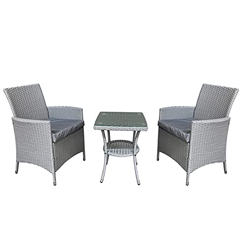 3 Piece Chiswick Woven Rattan Garden Bistro Patio Dining Set Glass Top Table 2 Dining Chairs - Grey