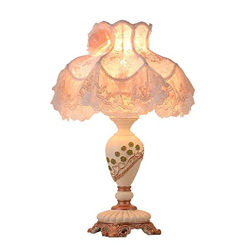 Dightyoho Lámpara Escritorio Tela de Cortina Blanca de Encaje lámpara de Mesa de Noche de Resina Blanca lámpara de iluminación lámpara de iluminación