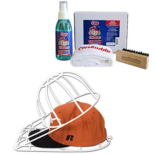 Cap Buddy Cap Cleaner Geschenk-Set Premium Baseball Cap Reiniger für Deine Baseball Kappen Inkl. Spray, Bürste und Tuch (White & White)