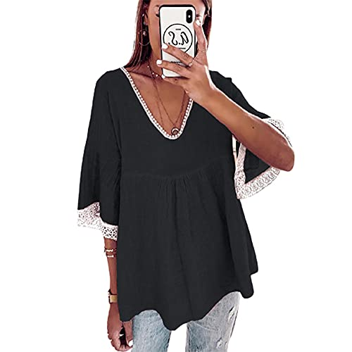 Elesoon Camiseta para mujer, talla grande, estilo bohemio, étnico, de lino, de ganchillo, liso, liso, de manga corta, cuello en V, blusa, A-negro, 42