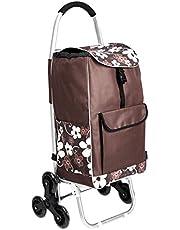 AmazonBasics - Carrito de la compra con 6 ruedas y asas de aluminio, 50 litros, flores marrones