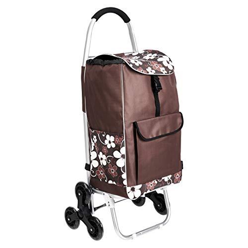Amazon Basics – Einkaufstrolley mit 6 Rollen und Aluminium-Griffen, 50 l, braune Blumen