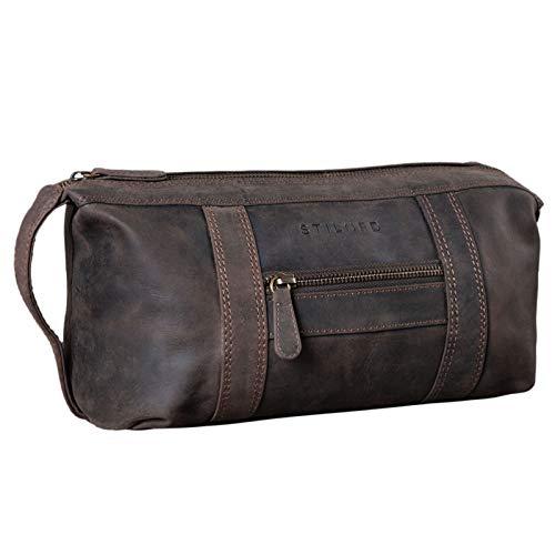 STILORD 'Bruno' Bolsa de Aseo Hombre Piel Vintage Neceser Grande con Asa Bolso Organizador para Baño Viajes de Cuero, Color:marrón Oscuro