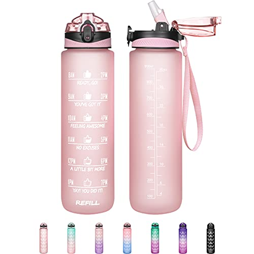 32 oz Motivational Water Bottle with Straw & Time Marker - Leakproof & BPA Free Frosted Tritian Portable Reusable Fitness Sport 1L Water Bottle to Ensure Kids Women Men Drink Enough Water Daily