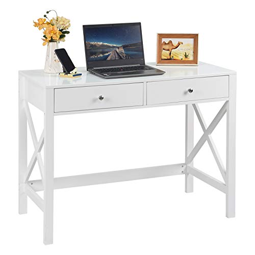 White Home Office Desk with Drawers, Modern Writing Computer Desk, Small Makeup Vanity Table Desk for Bedroom, Study Table for Home Office