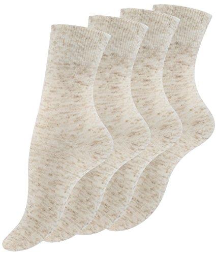 VCA 8 Paar Damen Socken Natur, Leinen Socken mit Baumwolle in beige meliert