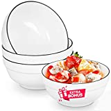 DeeCoo 64 Oz Large Porcelain Salad, Soup Bowl - 8.2 Inch Ceramic White Serving Bowls Set for Noodle, Pho, Pasta, Fruit, Ramen, Anti-slipping Stackable Round Large Set of (3 + 1 Extra 7 Inch as Bonus)