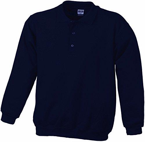 JAMES & NICHOLSON - Sweat-Shirt col boutonné Style Polo - JN041 - Homme (Bleu Marine -XXL)