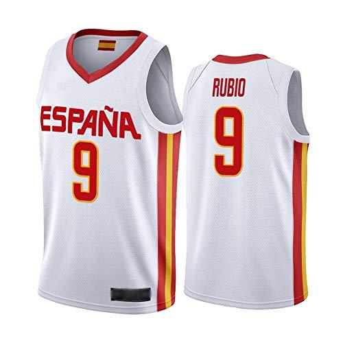 WOLFIRE WF Camiseta de España 2019 para Hombre, Mundial de China. Llul, Gasol, Rubio. Estampado, Transpirable y Resistente al Desgaste Camiseta para Fan (Rubio Blanco, S)