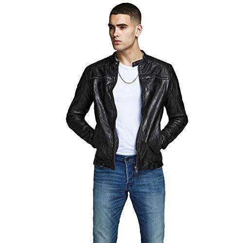 Jack & Jones Jjeliam Leather Jacket Noos Chaqueta, Negro (Black Black), Medium para Hombre