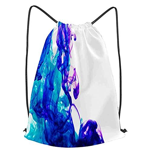 Tcerlcir Mochila de Cuerda Agua de tintas Azules Unisex Mochila con Cordón Saco de Gimnasia para Deporte Gimnasio Yoga Nadar